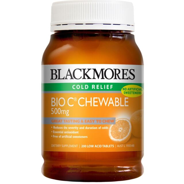 BLACKMORES BIO C CHEWABLE 500MG 200 TABLETS EASY TO CHEW COLD RELIEF ANTIOXIDANT