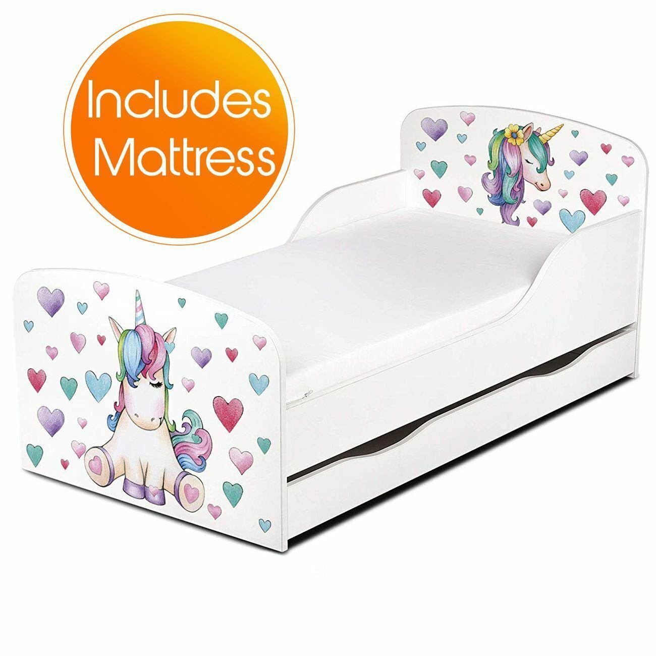 Unicorn bébé lit avec rangement Junior chambre + Entièrement Sprung Matelas