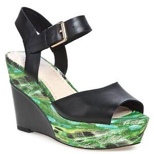 Clarks-Scorpio-Star-Black-Green-Leather-Wedge-Sandals-brand-new-in-box