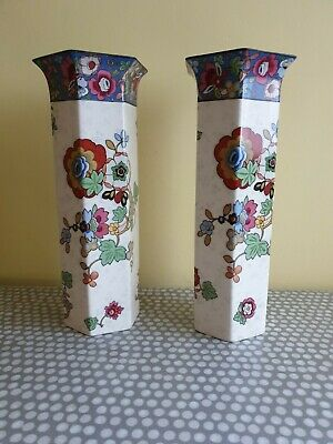 A Vintage Pair Of Matching Crown Ducal Tall Vases Floral Design Ebay