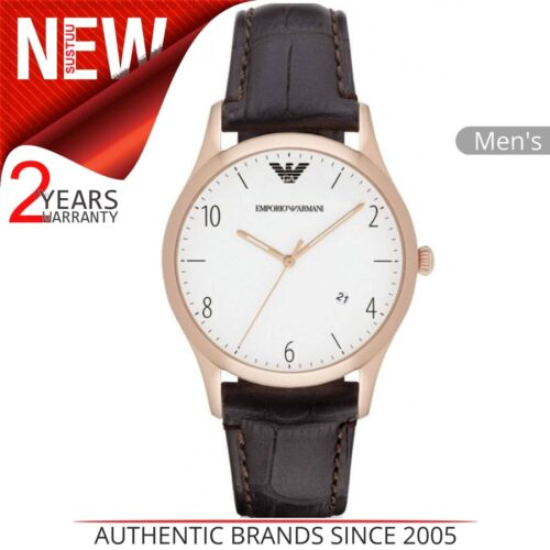 a550324c5d6f7 brun en Classic Homme cuir Emporio Armani blanc avec pour bracelet Montre  et cadran 35Aq4RjL
