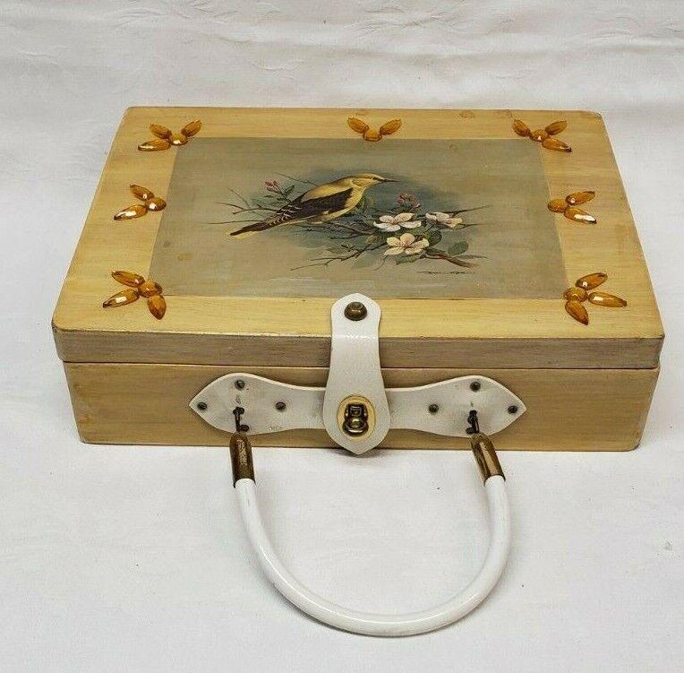 Vintage wood box purse top handle bag 60's Bird … - image 1
