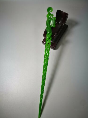 EXQUISITE CHINESE OLD HAND CARVING NATURAL GREEN JADE PHOENIX HAIRPIN RT012