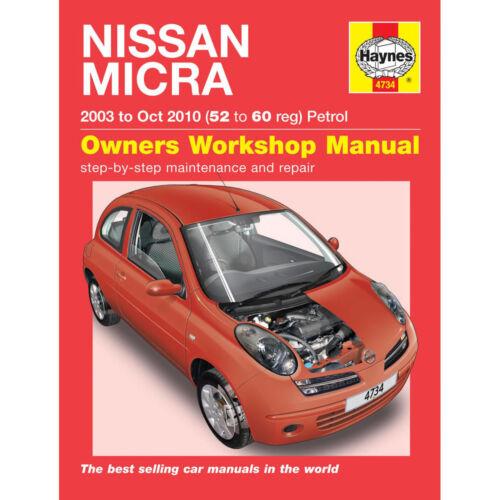 Haynes Manual Nissan Micra 1.0 1.2 1.4 Petrol 2003-07 4734 52-57 Reg