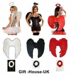 Fancy Dress Angel Fairy Feather Wings Halo Tutu Gothic Costume Outfit Hen Party