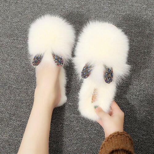 Womens Slippers Rabbit Fur Casual House Shoes Warm Soft Slides Fashion Cute v555