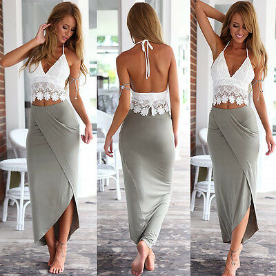 2PCS Women Summer Boho Halterneck Long Maxi Evening Party Dress Beach Dress 6-14