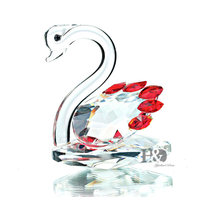 H&D Clear Crystal Swan Paperweight Ruby Wings Glass Figurines Valentine Gift