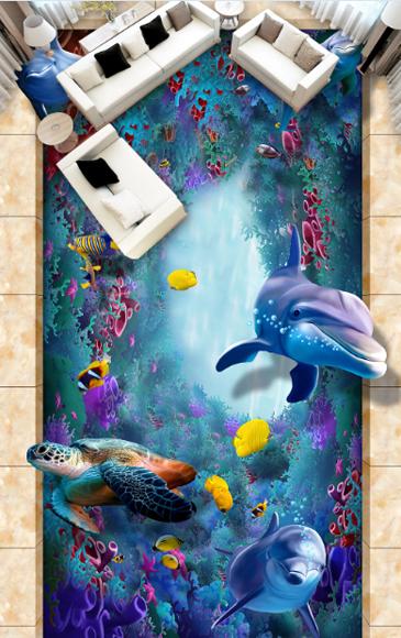 3D Tile Turtle Dolphin 64 Floor WallPaper Murals Wall Print Decal AJ WALLPAPER