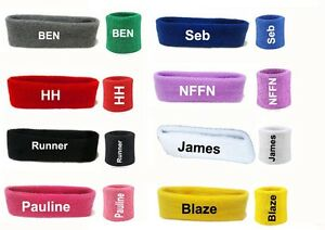 Image is loading Personalized-Sports-Wrist-Sweatbands -Headband-Tennis-Squash-GYM- fe6ec4a4561