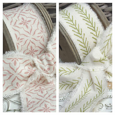 Soft Frayed Edge Burlap Hessian Dusky Pink,Green and Cream Ribbon. Linen Natural