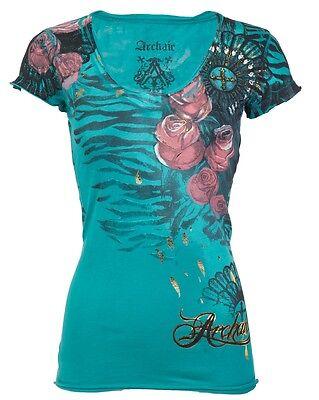 Archaic AFFLICTION Womens T-Shirt LOVE Roses Tattoo Biker BKE Sinful S-XL $40 a