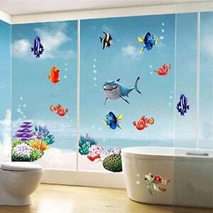 Finding nemo removable vinyl wall sticker ocean bathroom for Finding nemo bathroom ideas