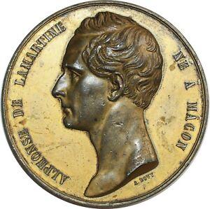 O7095-Rare-Medaille-Alphonse-Lamartine-Macon-Bovy-Manifeste-puissances-1848-75mm