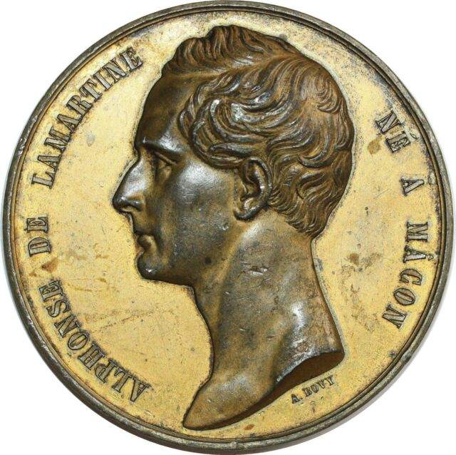 O7095 Rare Médaille Alphonse Lamartine Macôn Bovy Manifeste puissances 1848 75mm