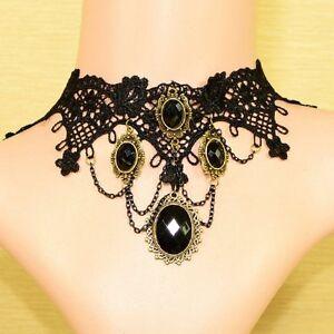 choker schwarz aus spitze gothic collier kragen halsband barock blumen victorian ebay. Black Bedroom Furniture Sets. Home Design Ideas
