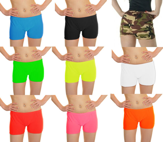 New Children Kids Girls Neon Plain Stretchy Dance Tutu Shorts Party Hot Pants