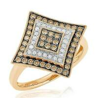 Amazing 10k Rose Gold Chocolate Brown & White Diamond Statement Ring .55cttw