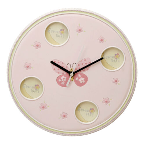 Baby Girl Pink Round Wall Clock and Photo Frame Butterfly Flower Design CG757P