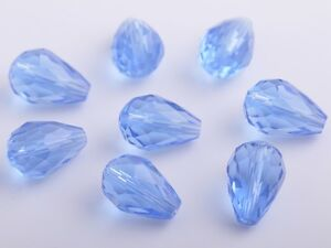 20pc-Teardrop-Faceted-Crystal-Glass-Finding-Loose-Spacer-Beads-12X8mm-Light-Blue