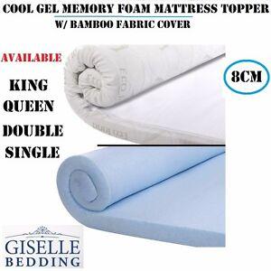 NEW-8CM-COOL-GEL-Memory-Foam-Mattress-Topper-w-Bamboo-Fabric-Cover-K-Q-D-S