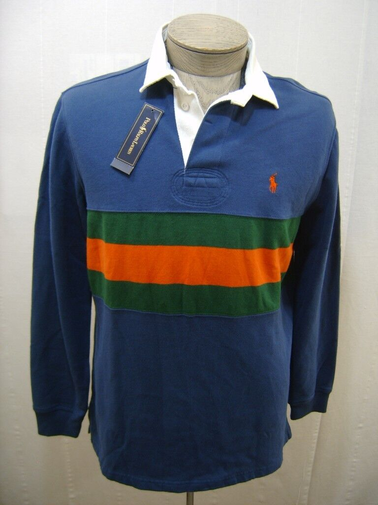 Polo Ralph Lauren Mens Rugby Pony Shirt Small S bluee Green orange Striped Fleece