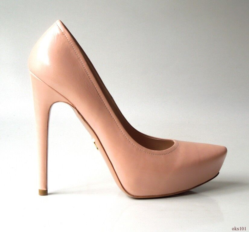 NIB  790 PRADA beige bluesh leather platforms classic shoes 40 10 - very SEXY