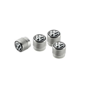 Ventilkappen-mit-gepraegtem-Volkswagen-Logo-fuer-Gummi-Metallventile