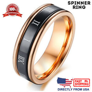Women-039-s-Anxiety-Spinner-Ring-Stainless-Steel-Roman-Numerals-6mm-Wedding-Band
