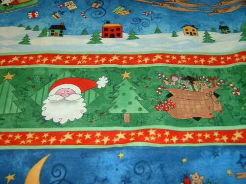 Renne Père Noël Bordure Noël Here Comes SANTA coton 50x110cm