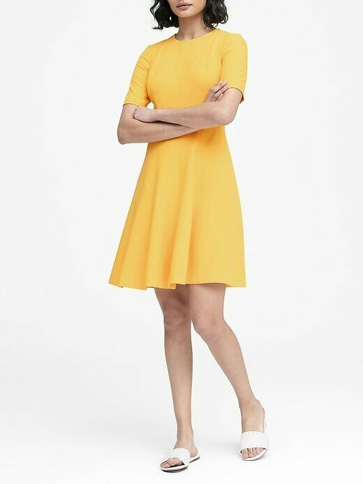 NWOT Banana Republic Paneled Fit-and-Flare Dress golden Yellow 10T, (4, 8T, 16T)