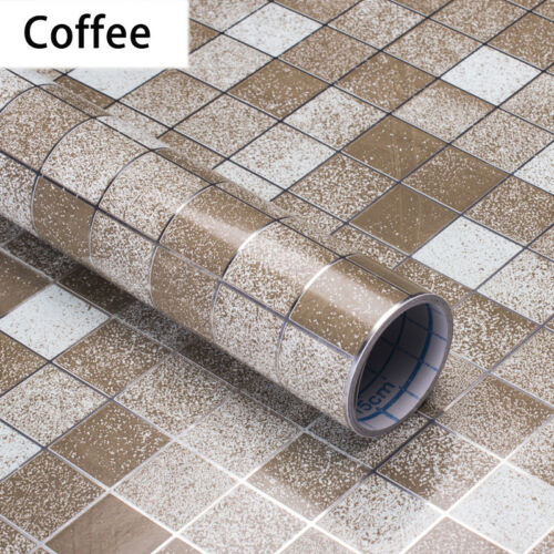 1PC Self Adhesive Mosaic Aluminum Foil Sticker Kitchen Oil Proof Tile Stickers