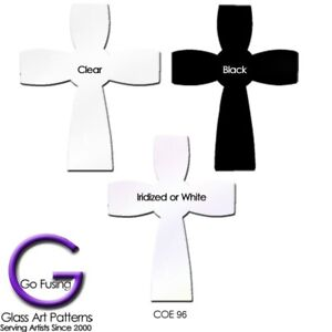Precut-Fusible-Glass-Shape-Celtic-Cross-Spectrum-COE-96-3-Colors-Fusing-Supplies