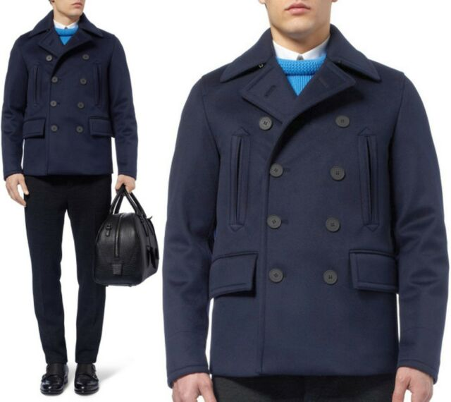 $2,595 RUNWAY Burberry Prorsum 38 48 Navy Cashmere Men Pea Coat Jacket ITALY A
