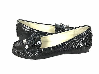 MICHAEL KORS Loafers 9 Black Leather Snakeskin Shoes Women's