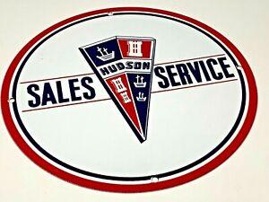 VINTAGE-HUDSON-SALES-SERVICE-PORCELAIN-SIGN-12-034-GASOLINE-amp-OIL-PUMP-PLATE-METAL