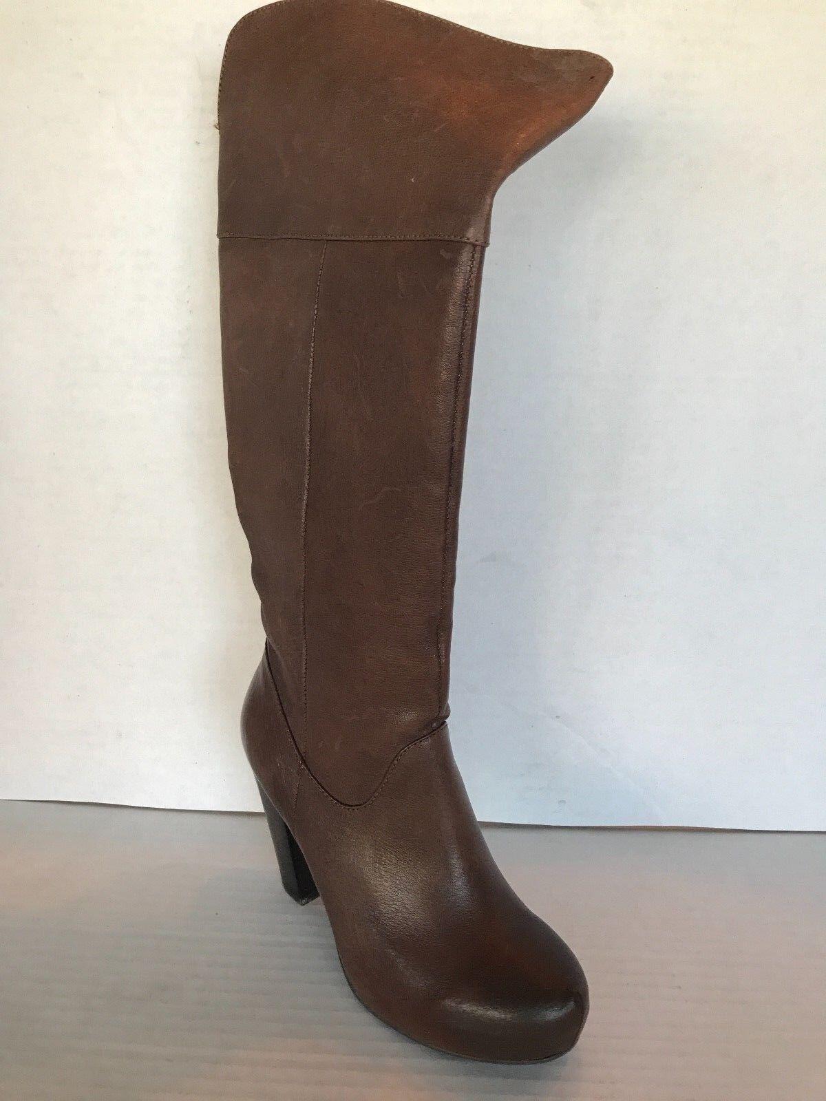 Steve Madden gris Mujer Cuero Marrón rodilla alta botas talla 6 M