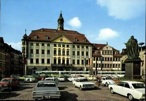 Coburg-Marktplatz-Rathaus-Parkplatz-Oldtimer-Ansichtskarte-Postkarte-AK-PK