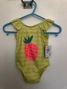 6 9 12 18 24 M BABY GAP Yellow Strawberry Ruffled SLEEVE Swim Suit Bathing NWT