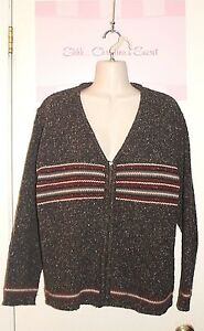 CHRISTOPHER-and-BANKS-Sweater-Charcoal-Red-Wool-Blend-Zip-Up-Sz-L-XLNT