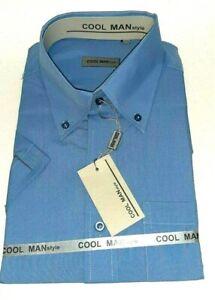 Camicia-classica-uomo-Cool-Man-manica-corta-collo-Button-down-Celeste-art-301
