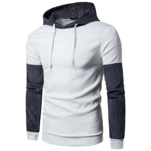 Men/'s Hooded Tops Slim Fit Long Sleeve Pullover Casual Coat Corduroy Sweater