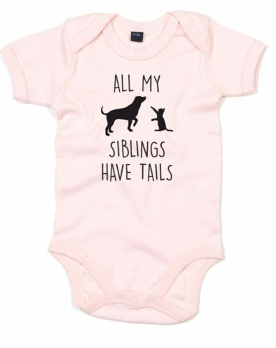 All My Siblings Have Tails, Printed Baby Grow for Boys Girls Baby Shower Gift