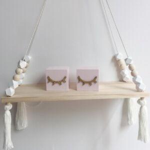 Wooden-Nordic-Style-Hanging-Tassel-Bead-Storage-Wall-Pretty-Shelf-Bedroom-Kids