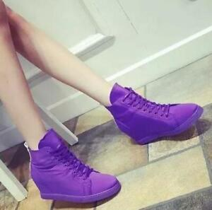 Womens-Elastic-Lace-Up-Casual-Shoes-Flat-Hidden-Wedge-Heel-Sneakers-High-Top-Hot
