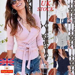 abd5941193 UK Womens Sexy V Neck Long Sleeve Wrap Blouse Ladies Wasit Tie Shirt ...