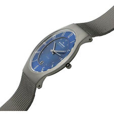 Skagen Authentic Watch 233XLTTN Blue Dial Titanium Stainless Steel Mesh Men's