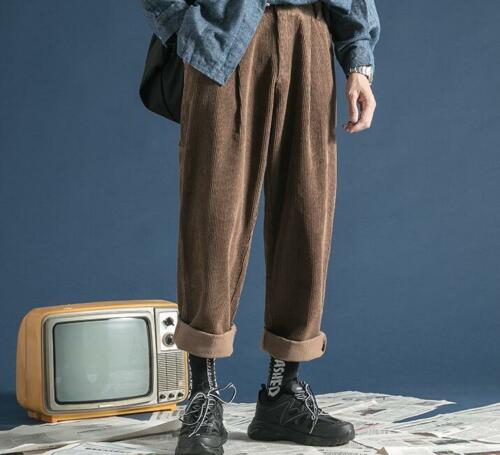 Hommes Hiver Casual Pantalon en velours côtelé overalls droite ample Jambe Large Pantalon Ske15