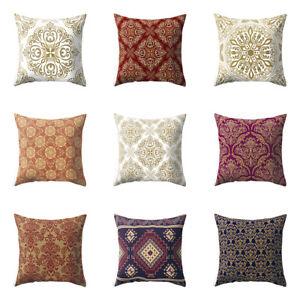 Am-KF-Retro-Symmetrical-Flower-Peach-Skin-Pillowcase-Waist-Cushion-Cover-Decor