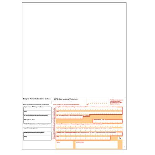 Überweisungsvordruck A4 neutral mikroperfo. 1.000-5.000 SEPA Laser-Zahlschein